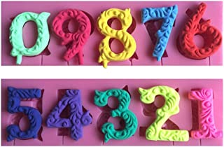 FLY 0-9 Numbers 3D Silicone Mold For Cake Decorating Tools,Pink
