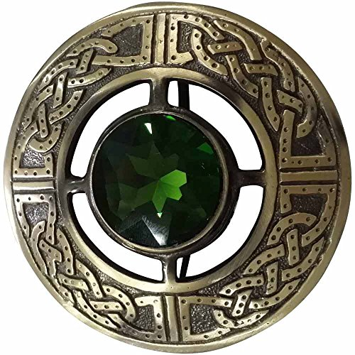 Men's Scottish Kilt Fly Plaid Brooch Thistle Antique Finish 3'/Highland Pins & Brooches Swirl Celtic Knot Ladies Sash Scarf Shawl Tartan (Antique Finish, Celtic Brooch Green Stone)