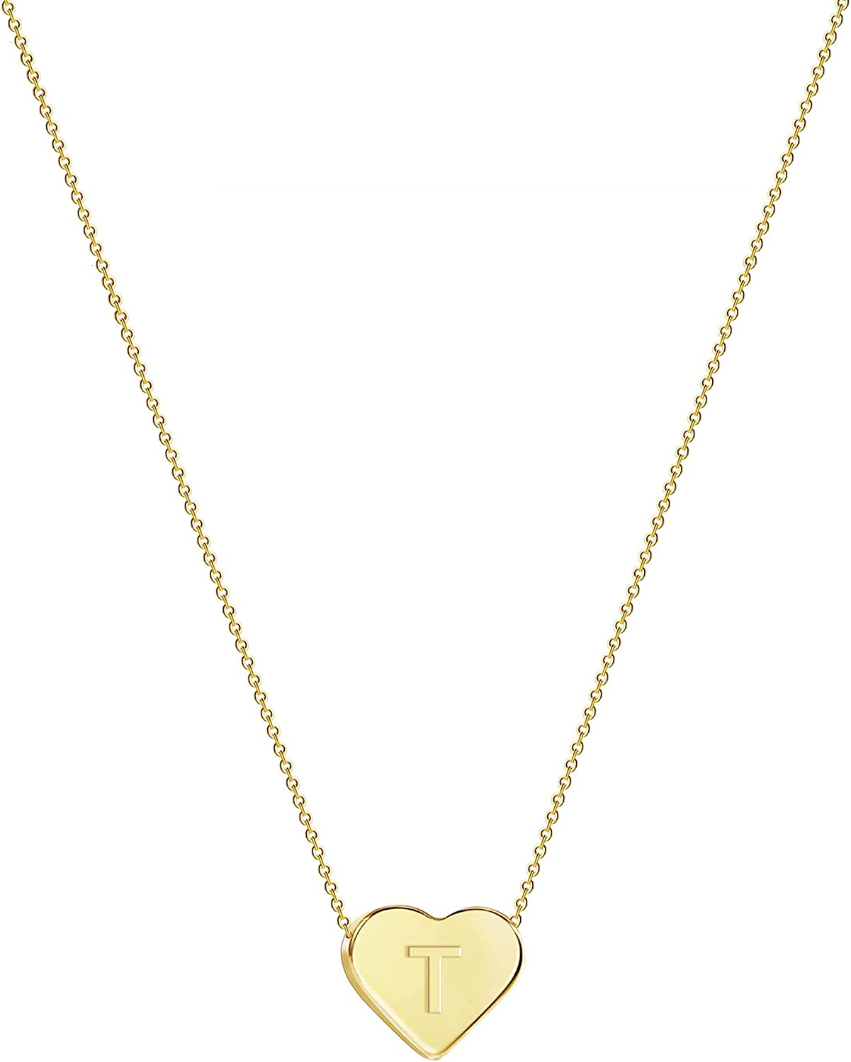 Tewiky High order Tiny Initial Heart Tucson Mall Choker Necklaces Boy's Alphabet Letter