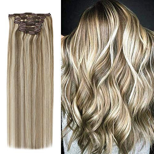 YoungSee Highlighted Hair Extensions Clip in 16inch 120G 7Pcs Full Head Remy Human Hair Clip in Extensions Light Brown Mixed Platinum Blonde (Brown Hair With Full Head Of Highlights)