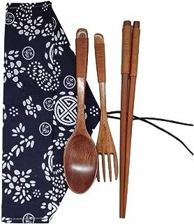 FORESTIME Japanese Wooden Chopsticks Spoon Fork Tableware 3pcs Set New Gift (Gold, 1 Set) (Gold, 1 Set)