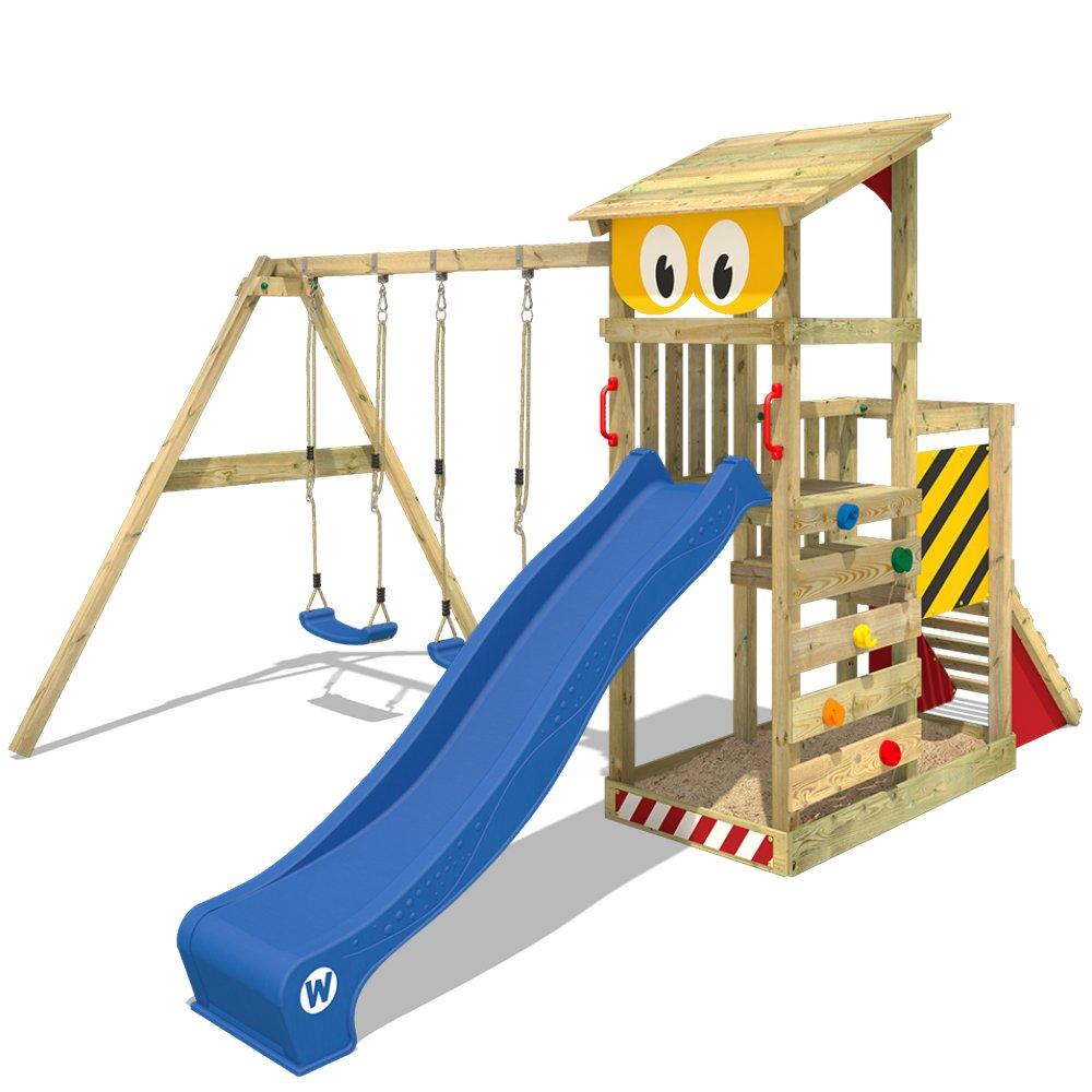 WICKEY Parque infantil de madera Smart Scoop con columpio y tobogán, Torre de escalada de exterior con arenero y escalera para niños: Amazon.es: Bricolaje y herramientas