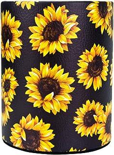 HEYGOO Sunflower Pen Cup, Premium PU Leather Pencil Holder, Women Makeup Brush Holder, Ideal Desk Organizer Gift for Offic...