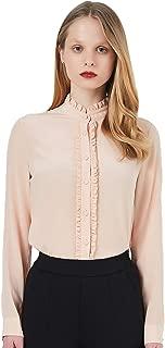 COLD POSH Women's 100% Silk Blouse Lady Luxury Long Sleeve Button Down Shirt