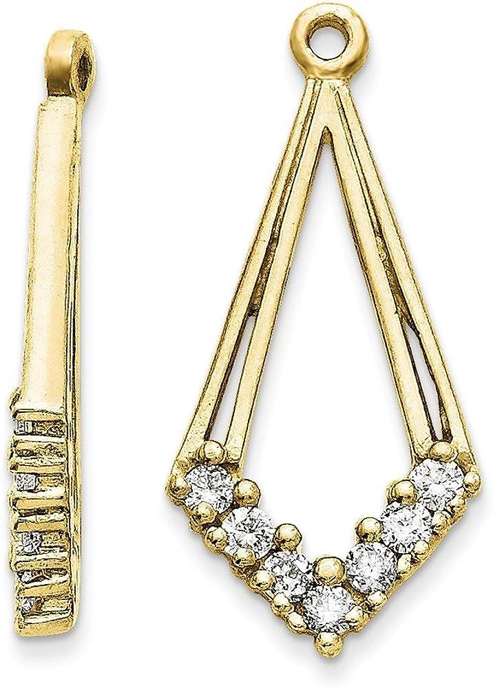Solid 14k Yellow Gold VS Diamond earring jacket - 22mm x 11mm (.28 cttw.)