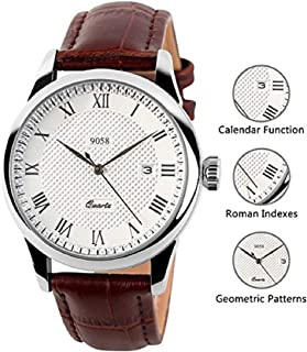 Mens Analog Quartz Wrist Watch - Classic Casual Watch with Brown Leather Band Large Face Watches for Men