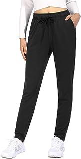OUGES Women Cotton Sweatpants Open Bottom Athletic Joggers Straight Leg with Pocket Drawstring(Black,XXL)