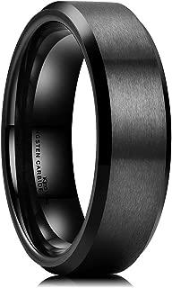 Basic 6mm 7mm 8mm 9mm 10mm Men Wedding Black Tungsten Ring Matte Finish Beveled Polished Edge Comfort Fit