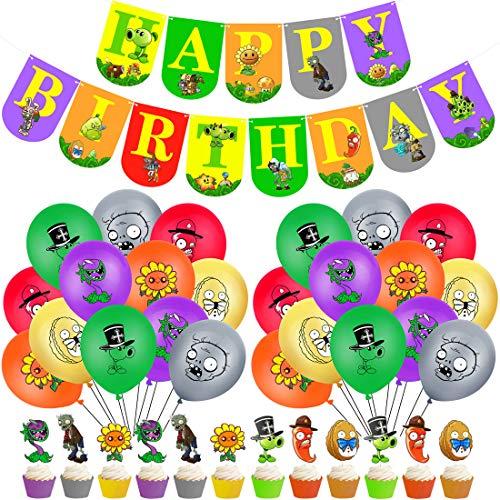 Decoración de la Fiesta de juegos - YUESEN Artículos de Fiestas para Fanáticos de los globo Decoraciones para Cumpleaños de Tema con Globos Pancartas Adornos para Pasteles