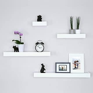 Ballucci Modern Ledge Wall Shelves, Set of 4, White (Renewed)