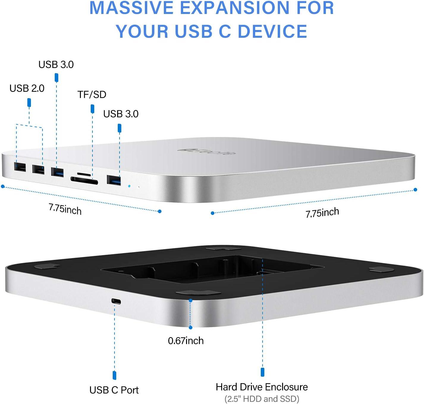 Elecife USB Typ C Hub mit Festplattengeh/äuse 7 in 1 Dockingstation f/ür Mac Mini Zubeh/ör mit SATA SSD//HDD Slot kompatibel mit Mac Mini 2018//2020 Dual USB 3.0//2.0 Port TF//SD Kartenleser
