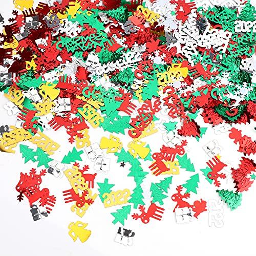 Coriandoli di Natale 30g Spruzza Confetti Pentagramma Fiocco di Neve Babbo Natale Albero Tavolo Confetti Multicolore Natale Decorazione per Feste Decorazioni Festive
