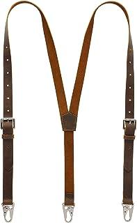RingSun Leather Suspenders For Men, Y Design Leather Suspenders, Adjustable Mens Leather Suspenders Wedding & Party Essent...