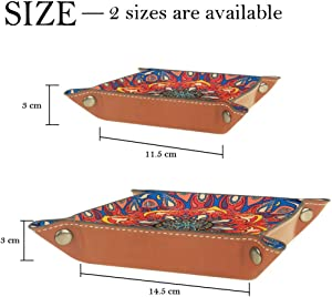 Ethnic Mandala Floral Pattern Valet Tray Storage Organizer Box Coin Tray Key Tray Nightstand Desk Microfiber Leather Pouch,16x16cm