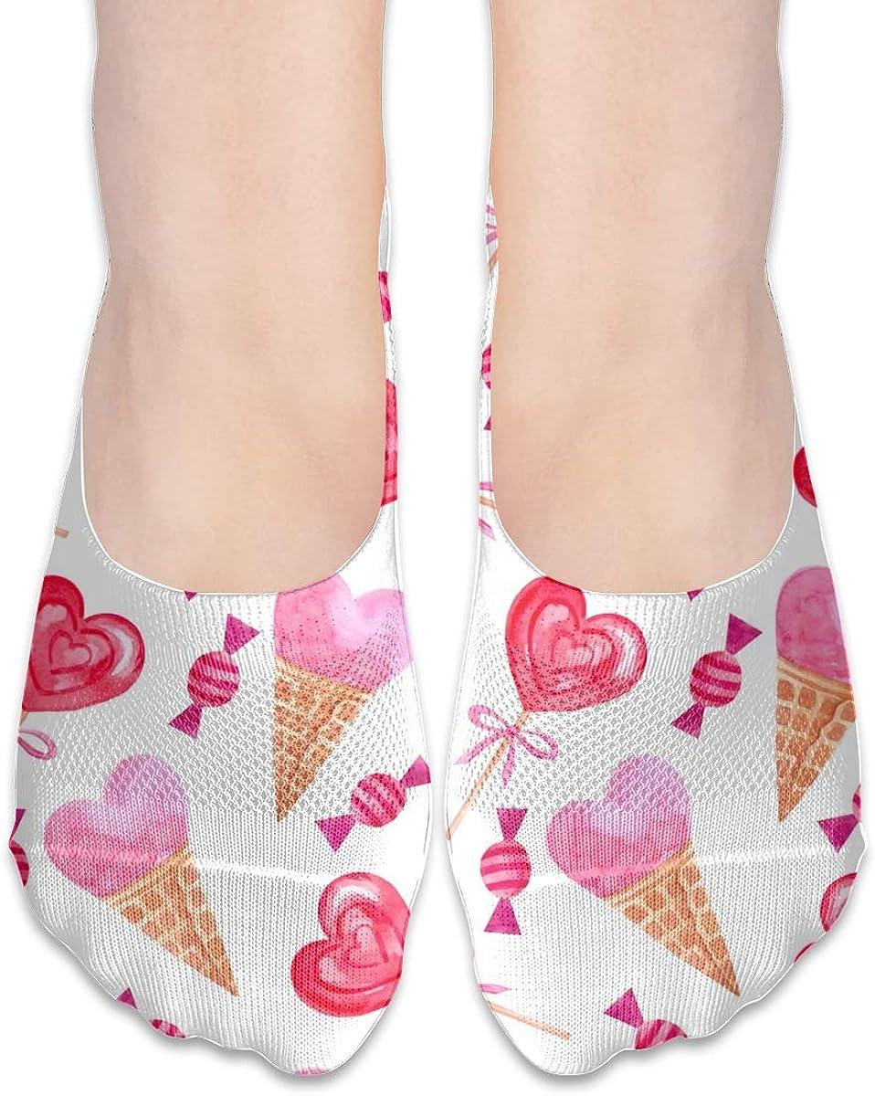 No Show Socks Women Men For Watercolor Valentine'S Day Flats Cotton Ultra Low Cut Liner Socks Non Slip