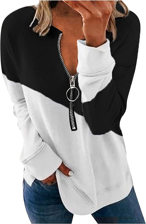 SPOORYYO Women Casual Long Sleeve 1/4 Zipper Color Block Sweatshirts Pullover Tunic Tops Activewear Running Jacket