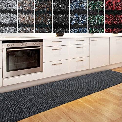casa pura Küchenläufer Granada in großer Auswahl | strapazierfähiger Teppich Läufer für Küche Flur UVM. | Rutschfester Teppichläufer/Flurläufer für alle Böden (80x200 cm Anthrazit)
