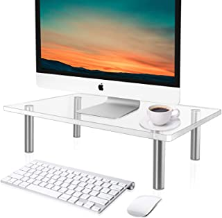 CGBE Clear Acrylic Computer Monitor Riser Save Space Desktop Stand for Xbox One/Component/Flat Screen TV,Display Riser