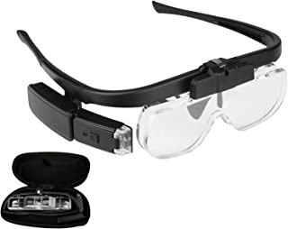 Yorten 4.5X Magnifying Headset with LED Light Magnifying Glass Head Mounted Jewelry Loupe Magnifier with Multiple Lens 2 L...