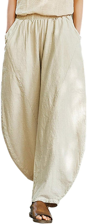 Aeneontrue Women's Linen Harem Pants Casual Loose Baggy Wide Leg Pleated Trousers