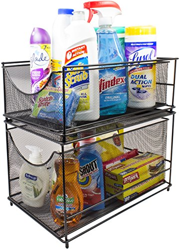 Sorbus Cabinet Organizer Set — Mesh Storage Organizer with Pull Out Drawers—Ideal for Countertop, Cabinet, Pantry, Under The Sink, Desktop and More (Black Two-Piece Set)