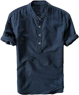 Mens Linen Shirts Short Sleeve Beach Henley Shirt Summer Button Up Tops Cotton Lightweight Tees Plain Mandarin Collar Blouses