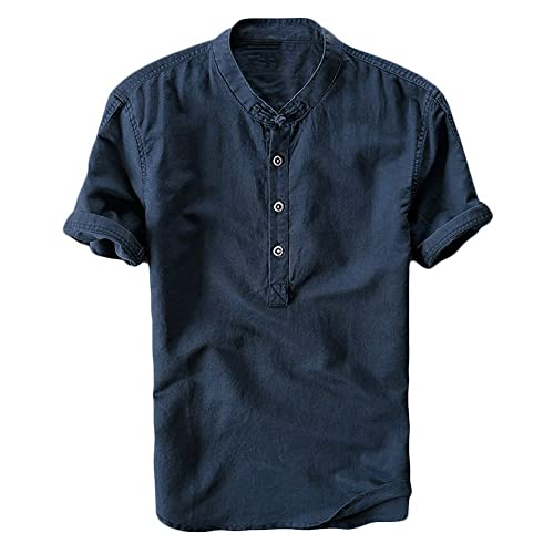038099151ff Mens Cotton Linen Shirts Beach Short Sleeve Frog Button Up Tops Lightweight  Tees Plain Summer Mandarin