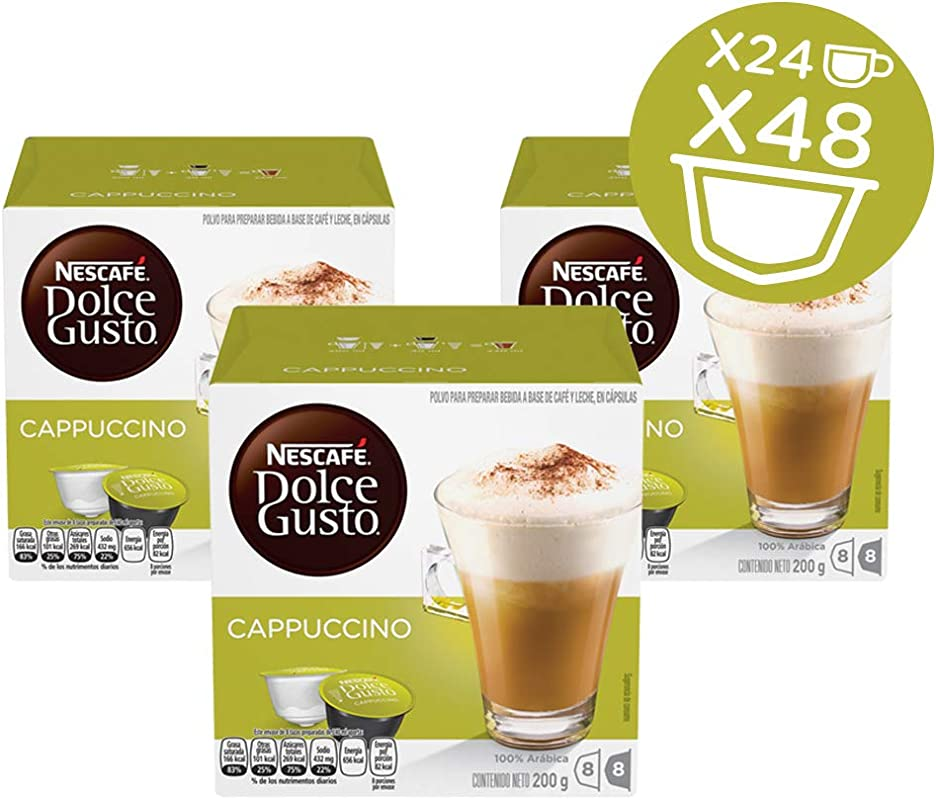 NESCAF Dolce Gusto Coffee Capsules Cappuccino 16 Count Pack Of 3