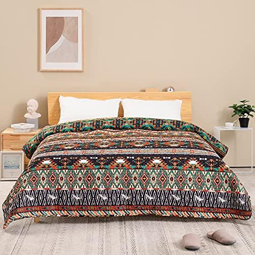 ATsense Tagesdecke 220x240 cm, Braun Bunt Boho Gesteppte Decke, Die Bettüberwurf ist eine Mikrofaser Genäht Doppelbett, Bequem, Weich, Glatt & Strapazierfähig, Bettgeeignet (Böhmisch)