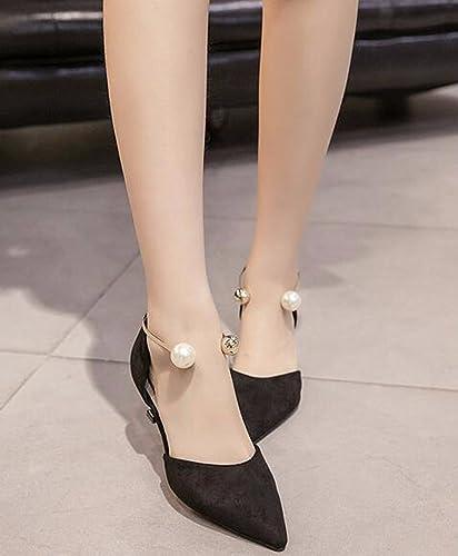 KHSKX-HolFaible Sandales Forte Tête 5.5Cm Talons Talons Hauts Perles Perles Bien Des Talons Seul Les Chaussures  achats en ligne de sport
