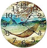 NoBrands - Reloj de pared de madera silencioso y no pinchazos, redondo, para dormitorio, hogar, escuela, oficina, 30,5 cm, estilo vintage de playa, Hamaca de playa, reloj de pared redondo decorativo