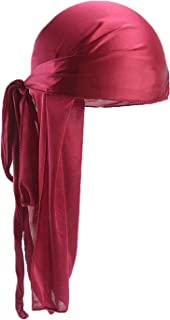 QincLing Long Tail Durag, Silk Durag 360 Waves Headwraps Wide Straps Pirate Hair Loss Chemo Cap Bandana Turban Hat for Wom...