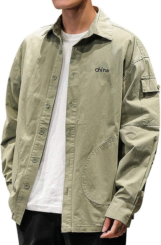 MODOQO Men's Button Down Shirt Business Casual Long Sleeve Comfortable Shirts Jacket