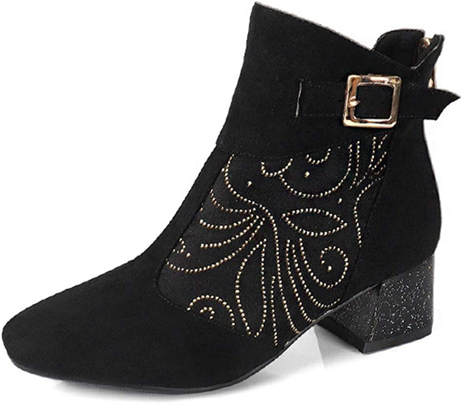 GIY Women's Close Toe Buckle Ankle Boots Retro Mid Heel Bootie Back Zip Up Studded Rhinestone Short Boot