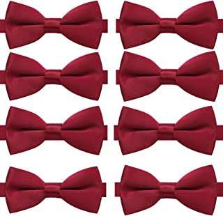AUSKY 8 PACKS Elegant Adjustable Pre-tied bow ties for Men Boys in Different Colors(5&6&8Pack for option)