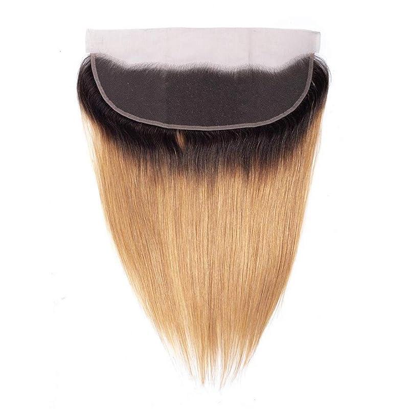 カメラ命題マリンHOHYLLYA ストレートヘア前頭耳に耳レース前頭閉鎖13 * 4閉鎖人間の髪の毛の茶色の髪の拡張子フルヘッドファッションかつらかつら (色 : ブラウン, サイズ : 12 inch)