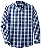 Amazon Essentials Men's Regular-Fit Long-Sleeve Casual Poplin Shirt, Blue Plaid, X-Large