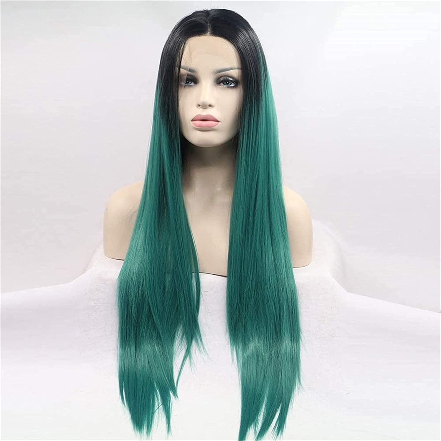 Cosplay European and Super special price Wig Women Front Chemical Fiber Green L Inventory cleanup selling sale Lace