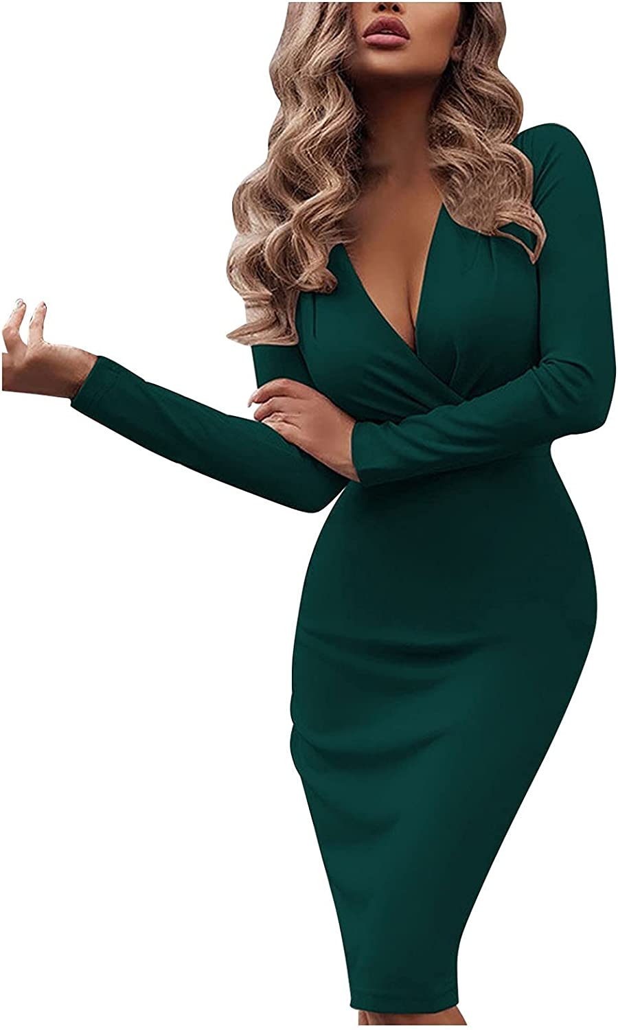 Women's Sexy Pure Color Wrap V Neck Long Sleeve Split Cocktail Bodycon Slim-Fit Party Pleated Short Dresses