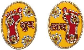 Aditri Creation Large Laxmi Charan Paduka Feet Pagla Sticker Floor Rangoli Decoration for Door Wall Floor House Office (Le...