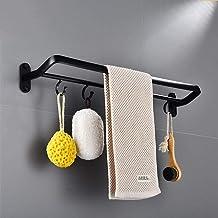 Zandstraalruimte aluminium zwart dubbel handdoekrek, badkamer met haak handdoekstang, badkameraccessoires-60cm handdoekstang