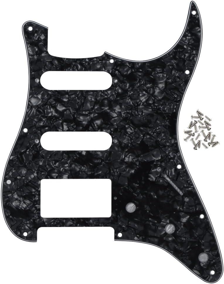 IKN 11 Hole Strat SSH Pickguard Placa de rasguño de guitarra con tornillos de montaje para Fender estándar Stratocaster de EE. UU./Mexican Bridge Cut, 4 capas perla negro
