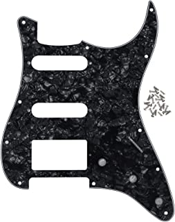 IKN 11 Hole Strat HSS Pickguard Guitar Scratch Plate for American/Mexican Made Standard Strat Modern Style Guitar Replacement, 4Ply Black Pearl