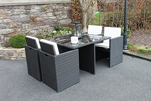 Culcita Gartenmöbel Set 4 Sitzer Cube Rattan Set mit Kissen