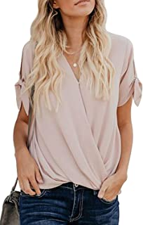 Womens Casual Summer Tie Sleeve Wrap V Neck Chiffon Blouses Tops Shirts