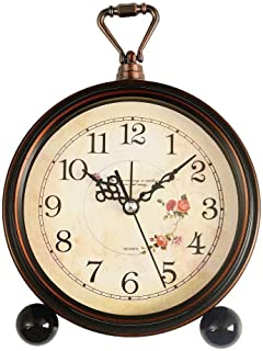 Konigswerk Loud Alarm Clock, Vintage Retro Decorative Quiet Non-Ticking Sweep Second Hand, Quartz Analog Desk Table Clock Battery Operated (Roses)