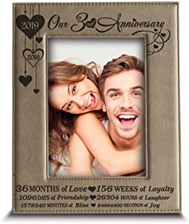 BELLA BUSTA- Our 3 Years Anniversary-2018-2019 - Years,Months, Weeks, Days, Hours, Minutes, Seconds- Engraved Leather Picture Frame (5 x 7 Vertical)