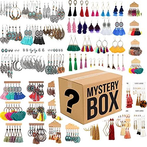 RYKJ-F Mystery Box, Pendientes Colgantes Vintage Pendientes Bohemios De Madera Mystery Box para Mujer