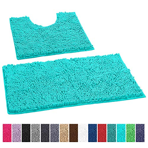 LuxUrux Bathroom Rugs Luxury Chenille 2-Piece Bath Mat Set, Soft Plush Anti-Slip Shower Rug +Toilet Mat.1'' Microfiber Shaggy Carpet, Super Absorbent Machine Washable Bath Mats (Curved Set, Spa Blue)