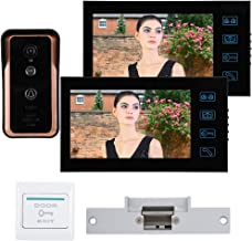 Video Intercom 7in 2 Monitors Wired Video Door Phone Home Security System IR Camera Intercom with Cathode Lock 100-240V US
